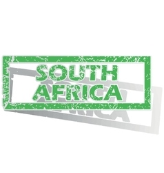 Green outlined south africa stamp vector