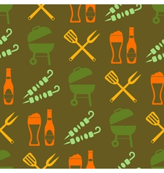 Seamless background with symbols of barbecue vector