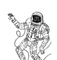 Space concept with astronaut vector