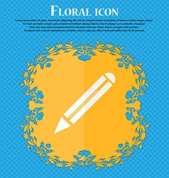 Pencil sign icon edit content button floral flat vector