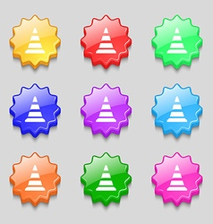 Road cone icon symbols on nine wavy colourful vector