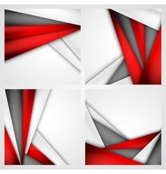 Set abstract background of red white and black vector