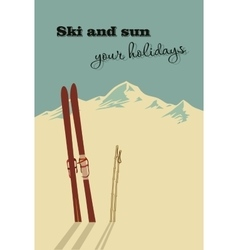 Mountains and ski equipment in the snow vector