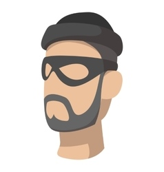 Man in black mask and cap with a beard vector image