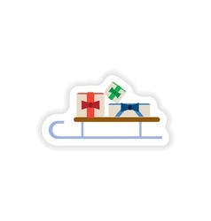 stylish paper sticker on white background sled vector image