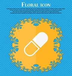 Pill icon floral flat design on a blue abstract vector