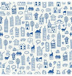 Cityscape doodles seamless pattern vector