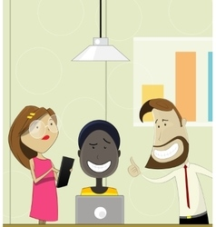 Creative cartoon people working in office vector