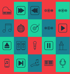 Audio icons set collection of mike start song vector