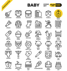 Baby outline icons vector
