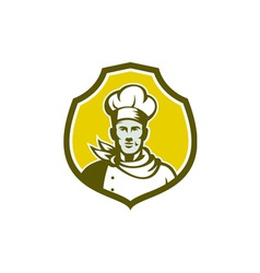 Baker chef cook bust front shield retro vector