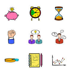 Banking icons set cartoon style vector