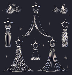 beautiful wedding dress set vector image