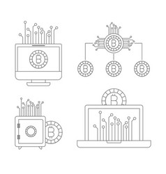 Bitcoin monochrome icons of investment with vector
