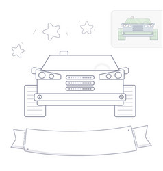 black and white line drawing car coloring page vector image vector image
