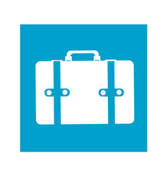 Blue square frame with suitcase icon vector