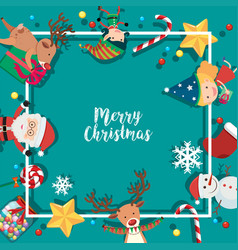 border template with christmas characters on blue vector image