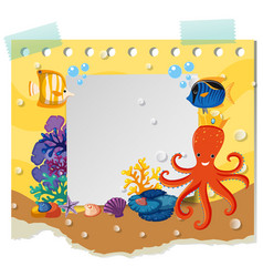 Border template with wild animals under the sea vector