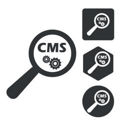 Cms search icon set monochrome vector