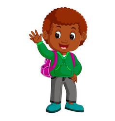 cute boy go to school cartoon vector image