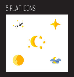 flat icon night set of midnight night star and vector image vector image