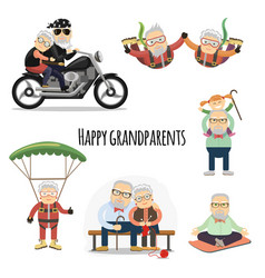 Happy pensioners after retirement vector