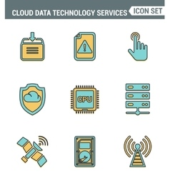 Icons line set premium quality of cloud data vector image vector image