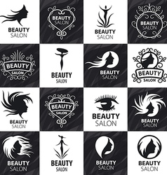 large set of logos for beauty salon vector image