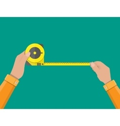 Mens hands hold measuring tape vector image vector image