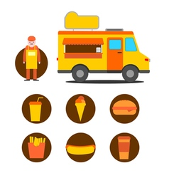 Mobile cafe business icons vector