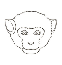 Monkey icon in outline style isolated on white vector
