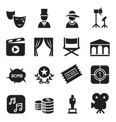 movies icons set vector image vector image