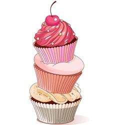 Pyramid of cupcakes vector image