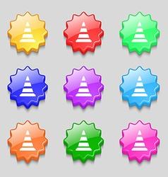 Road cone icon symbols on nine wavy colourful vector