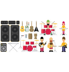 Rock band flat set vector