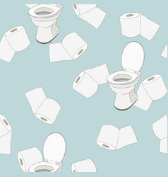 Roll of toilet paper and flush toilet hand draw vector