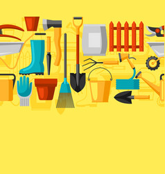 Seamless pattern with garden tools and icons all vector