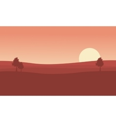 Silhouette of desert and tree at sunset landscape vector