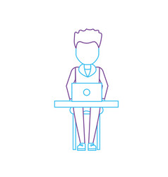 Silhouette profesional businessman with laptop and vector