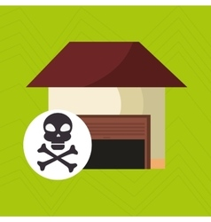 Smart home with skull isolated icon design vector
