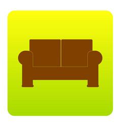 sofa sign brown icon at vector image