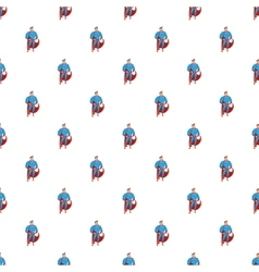 Superhero in action pattern cartoon style vector