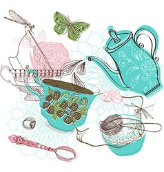 Tea time with flowers vector image vector image