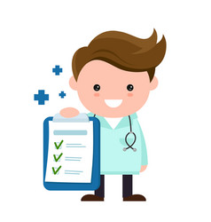 toung cute happy smiling medical doctor vector image vector image