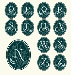 Vintage set capital letters floral monograms vector