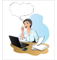 Woman has idea in the office vector