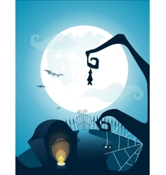 Blue halloween background with full moon vector