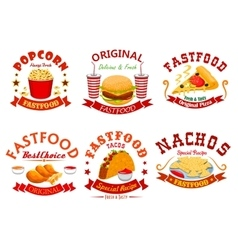 Fast food cafe badge set with takeaway dishes vector