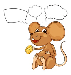 A rat holding a cheese with empty callouts vector image