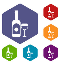 wine and glass icons set vector image